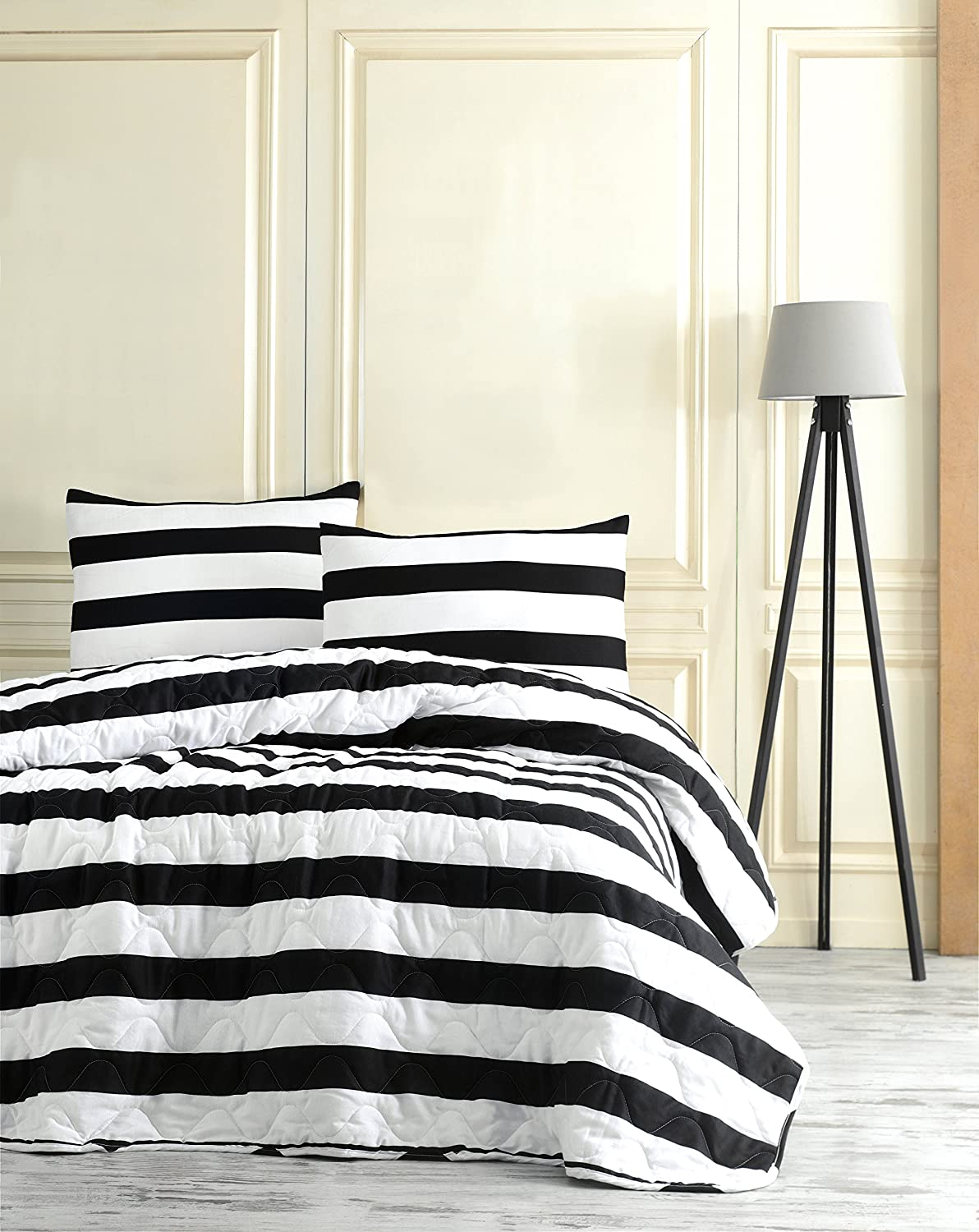 Black and White Stripped Bedding, Full/Queen Size Bedspread/Coverlet Set, Kids Bedroom, 3 PCS, DecoMood