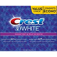 Crest 3D White Whitening Toothpaste, Radiant Mint - 100 ml (Pack of 3)