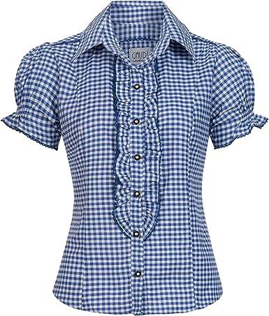 Gaudi-Leathers Traditional Blusa bávaro Ronda Camisa Traje de Tirolesa Moda alemán de Oktoberfest carnevale para Mujer: Amazon.es: Ropa y accesorios