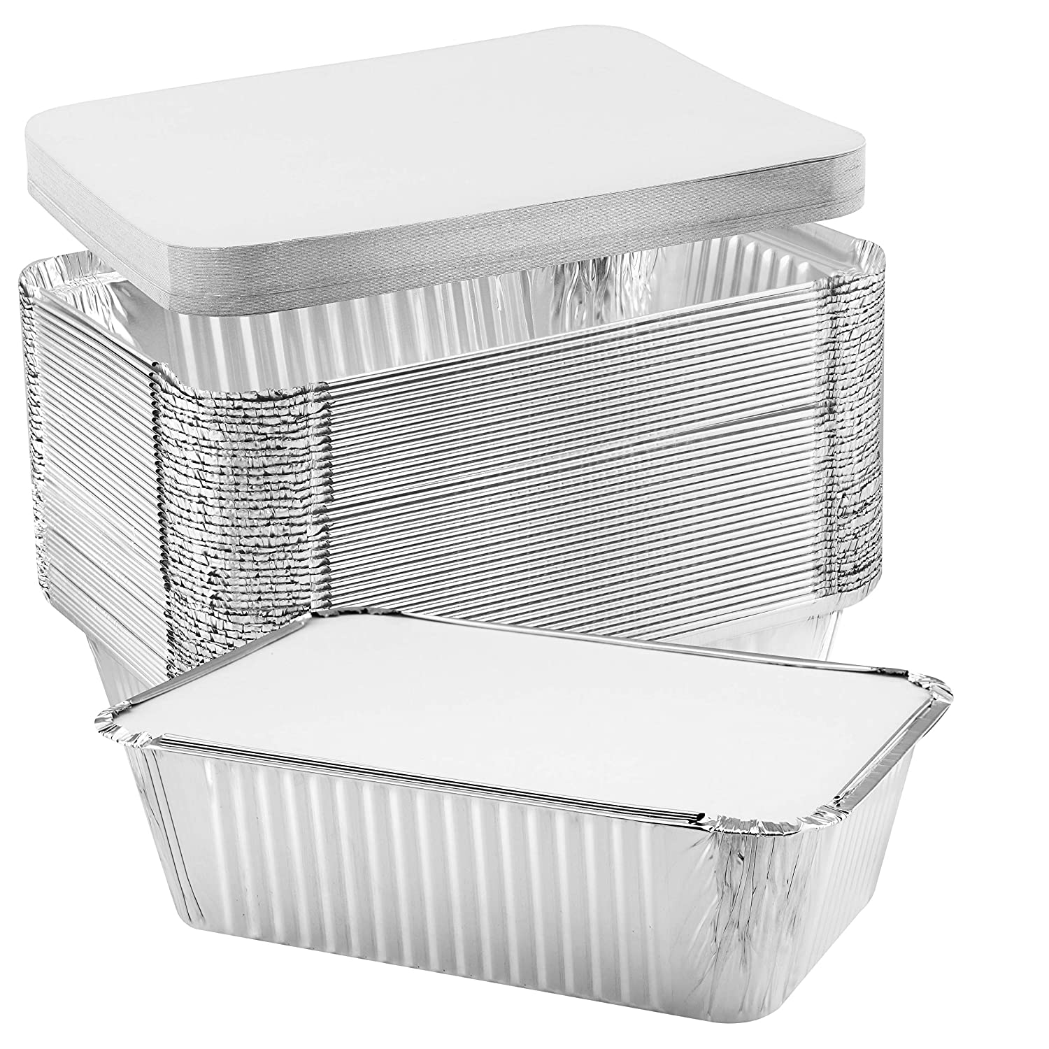 NYHI 50-Pack Heavy Duty Disposable Aluminum Oblong Foil Pans with Lid Covers Recyclable Tin Food Storage Tray Extra-Sturdy Containers for Cooking, Baking, Meal Prep, Takeout - 5 lb