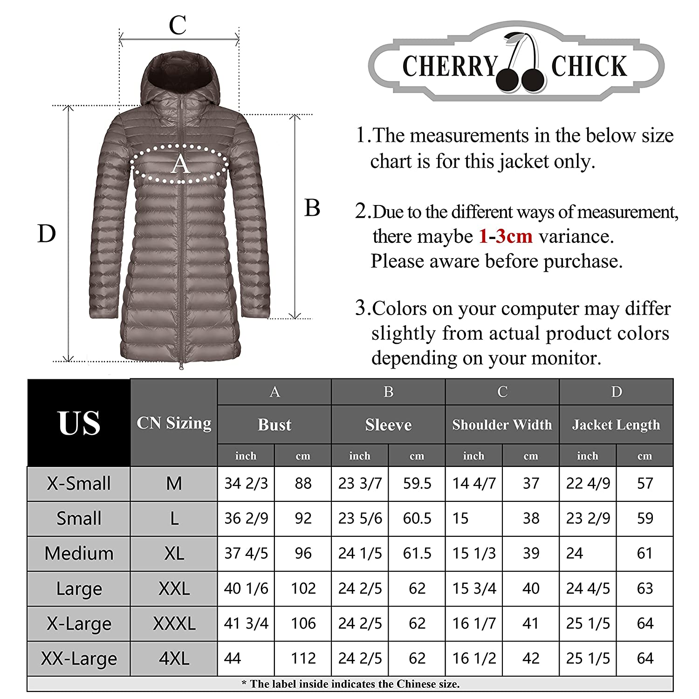 CHERRY CHICK Womens Light Weight Long Puffer Down Parka Jacket