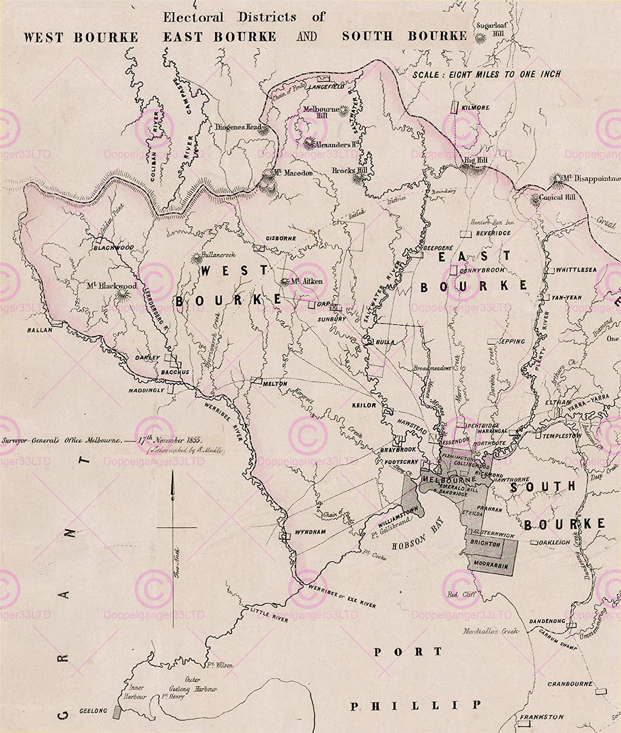 photo about Electoral Map Printable referred to as MAP POLITICAL 1855 BOURKE ELECTORAL DISTRICTS Hefty Duplicate