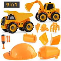 Prextex DIY 9-in-1 Construction Vehicle Set (29 Pieces), Build-It-Yourself Take-Apart Excavator Mixer and Dump Truck Toy with Tools for Boys