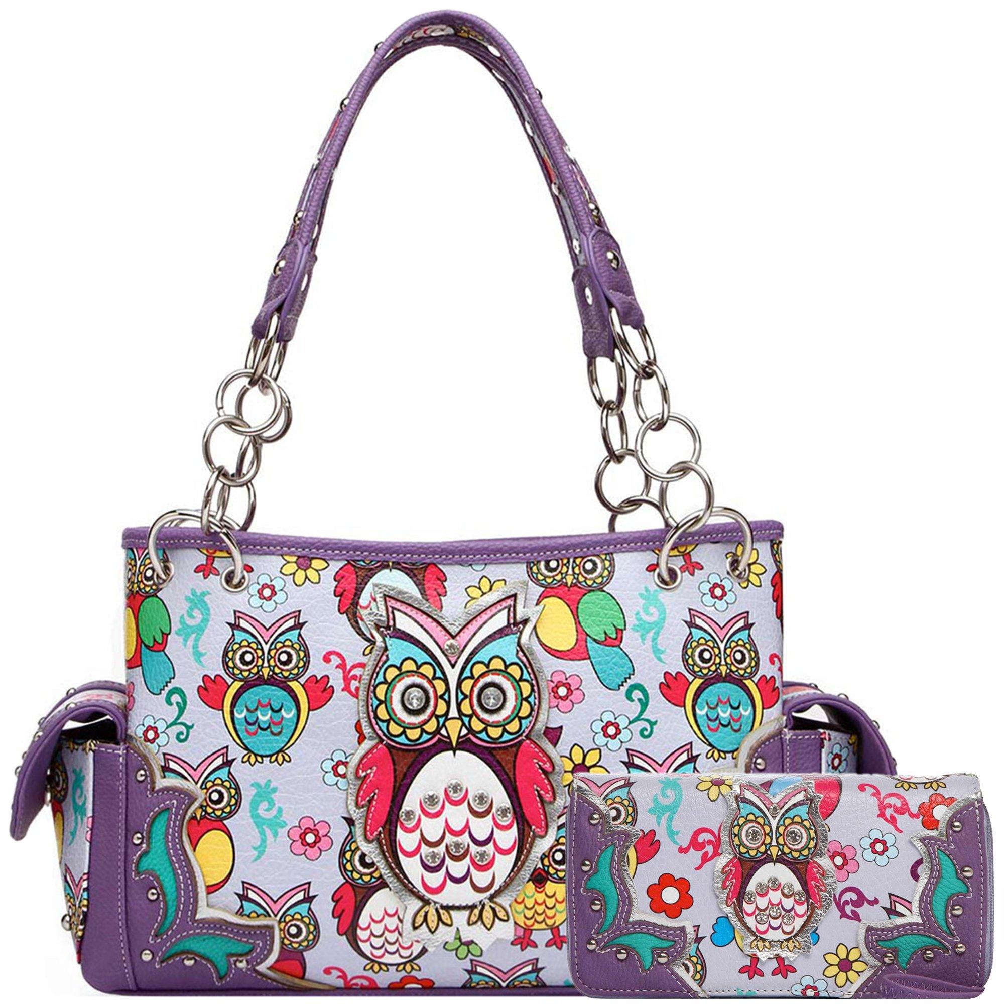 Colorful Owl Western Summer Fashion Purse Concealed Carry Handbags Women Country Shoulder Bag Wallet Set (Purple Set)