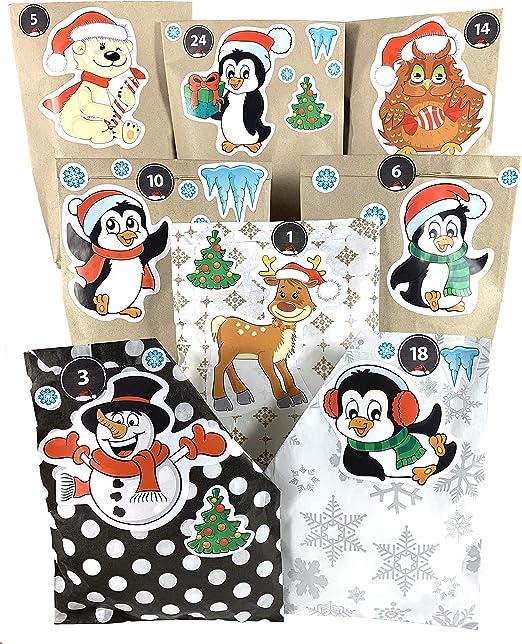 Adventskalender Zum Befüllen Kinder Kompletter Weihnachtskalender Basteln Mit Niedlichen Weihnachtsfiguren Und Adventskalender Tüten