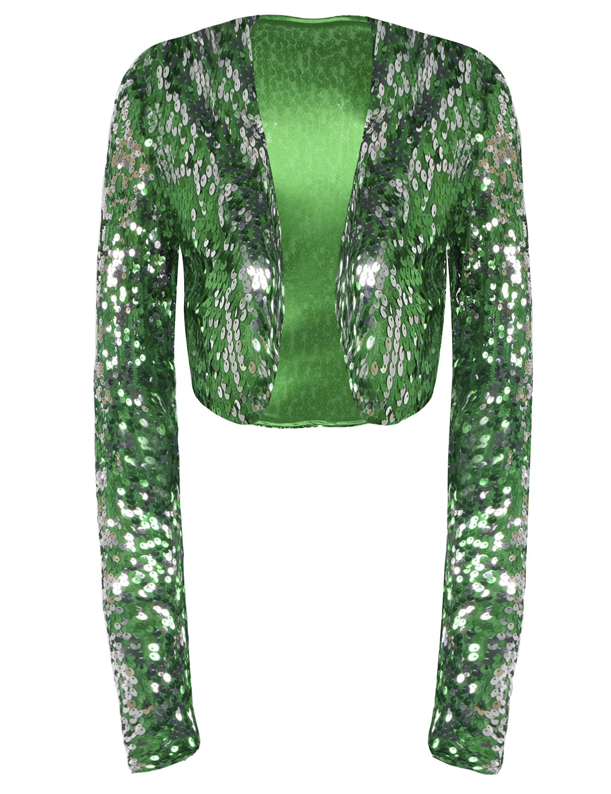 PrettyGuide Women Sequin Cropped Jacket Long Sleeve Sparkly Bolero DS Clubwear Green XL/US12-14