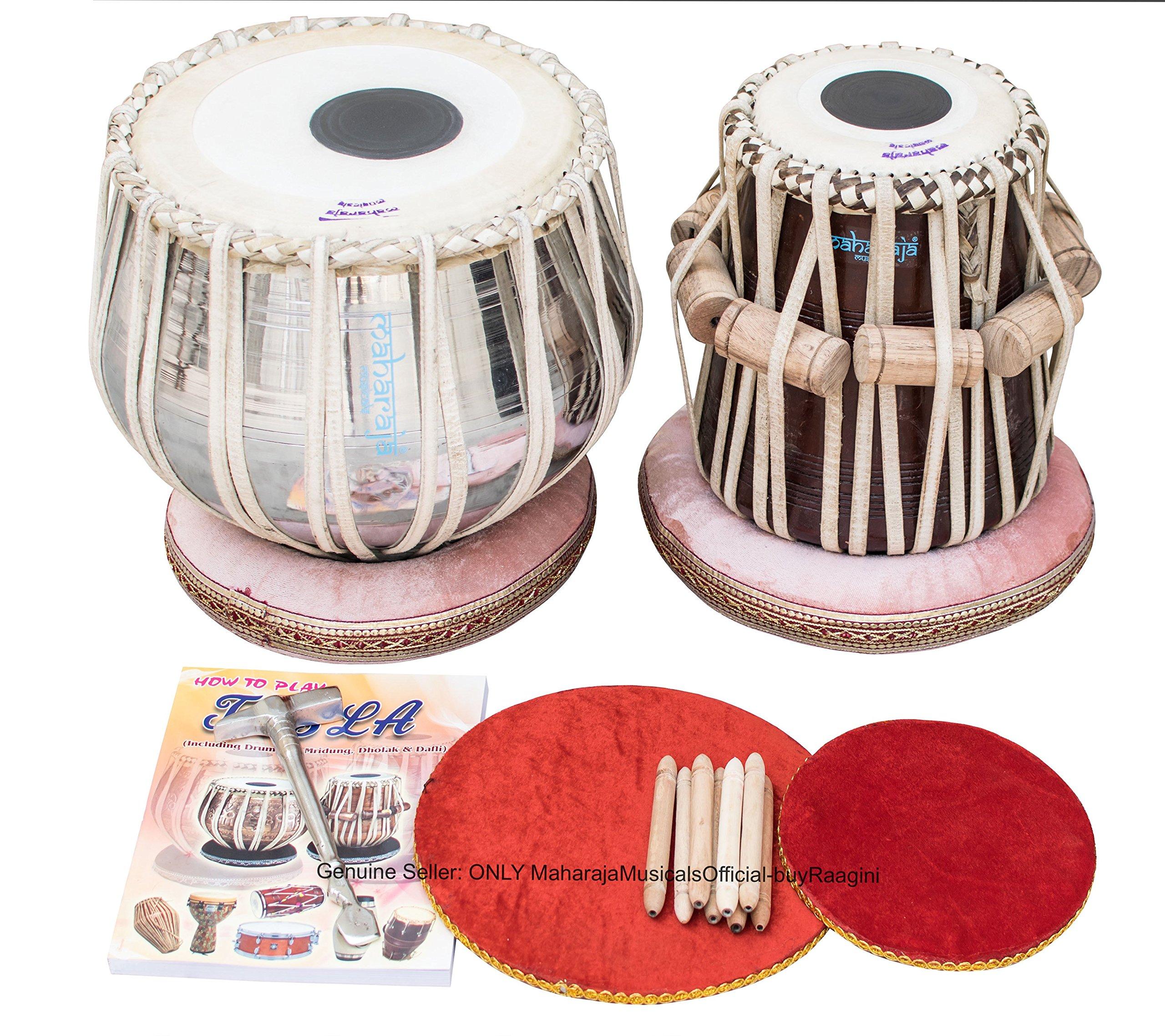 Maharaja Musicals Tabla Set, Classic Brass Tabla Drums, Brass Bayan 3 Kg, Sheesham Tabla Dayan, Nylon Bag, Book, Hammer, Cushions, Cover (PDI-CG)