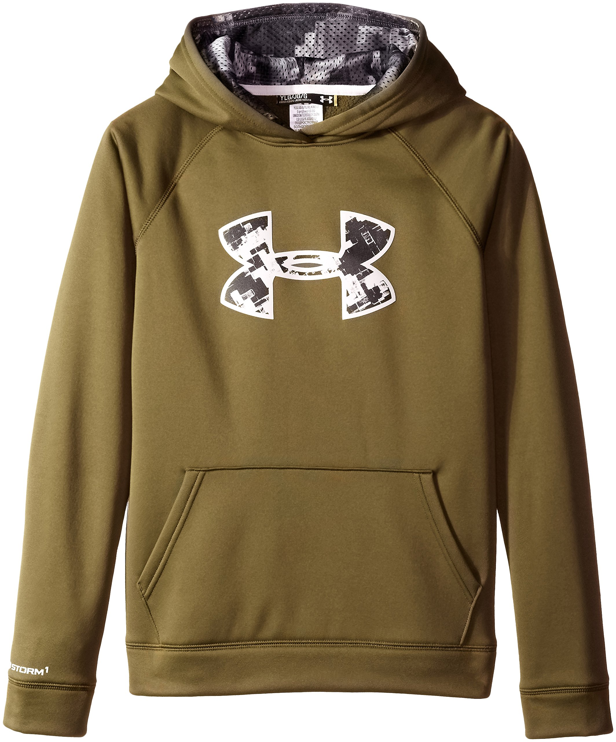 Under Armour Youth Boys' Fleece Storm Big Logo Hoody, Greenhead /Glacier Gray, Youth X-Small by Under Armour