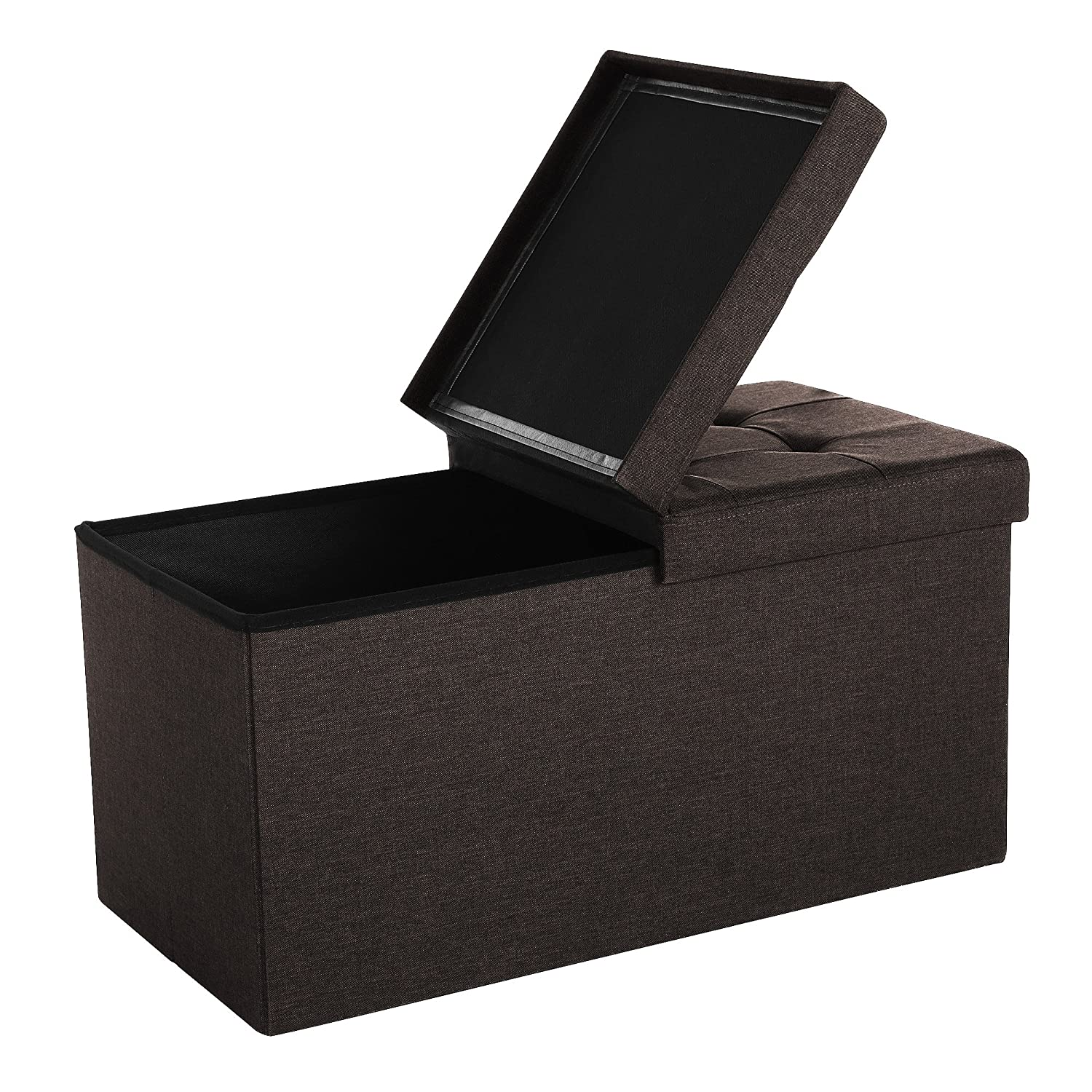 SONGMICS Large Folding Storage Ottoman Toy Chest Max Load 300 kg Linen Fabric Dark brown 76 x 38 x 38 cm LSF47Q