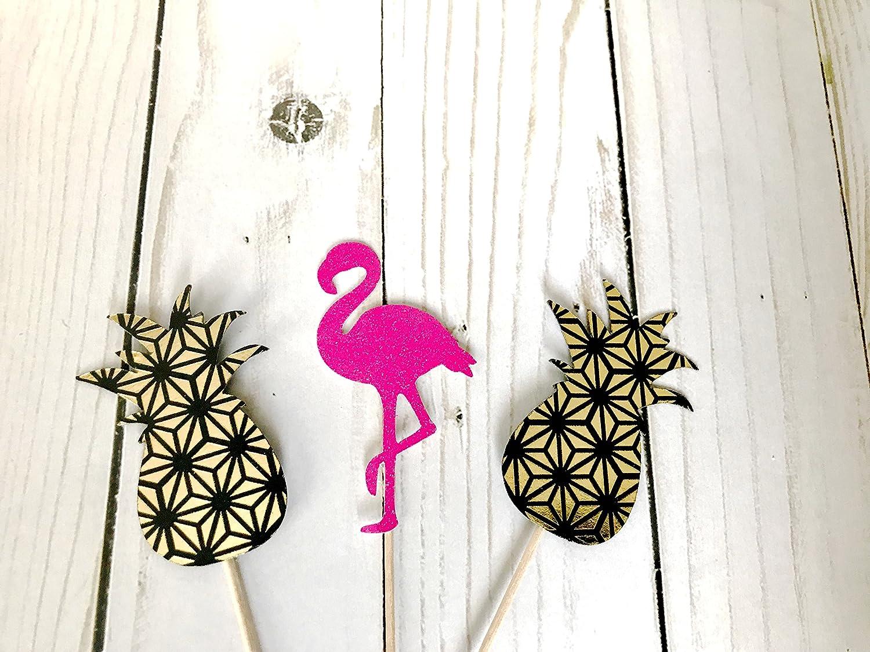 Flamingo Birthday Party Lets Flamingle flamingo pineapple cupcake toppers Flamingo Cupcake Toppers