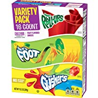 Betty Crocker Fruit Roll-Ups, Fruit by the Foot, Gushers, 10.2 oz, 16 Count Variety Pack