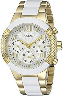 GUESS Womens U0770L1 Sporty Gold-Tone Stainless Steel Watch with Multi-function Dial and