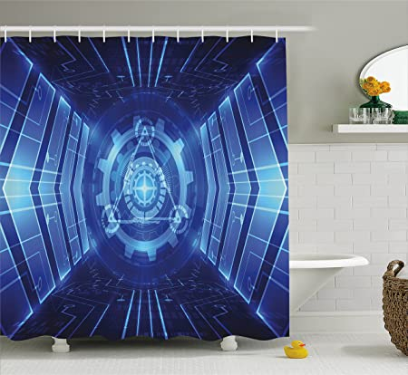 Modern Decor Shower Curtain By Ambesonne, Futuristic Time Machine Like  Futuristic Robotic Image Art,