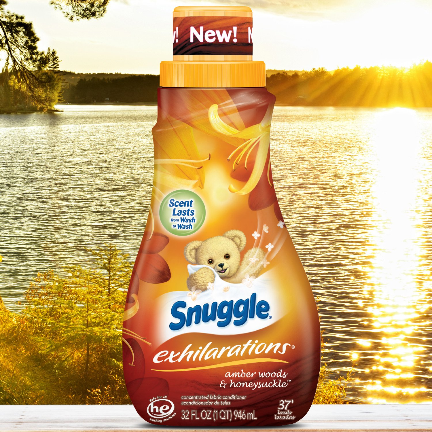 Snuggle Exhilarations Liquid Fabric Softener, Amber Woods & Honeysuckle, 32 Fluid Ounces (Pack of 9) by Snuggle (Image #5)