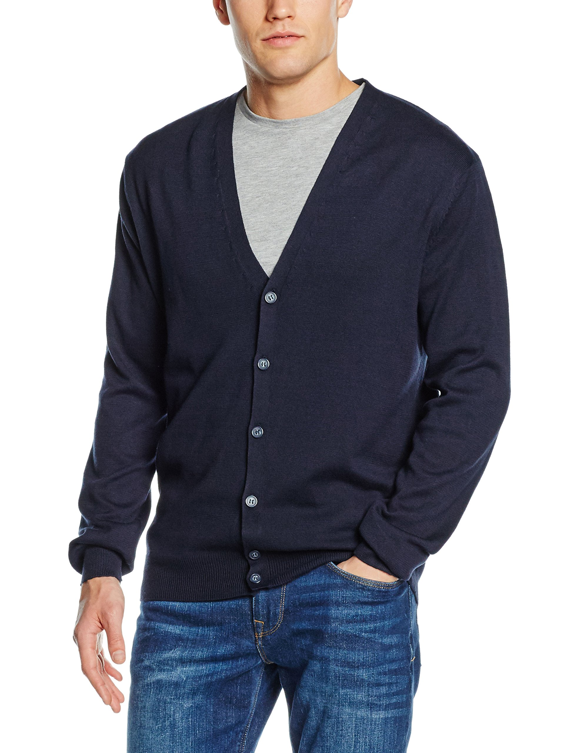 Henbury Mens V Neck Button Fine Knit Cardigan (XXXL) (Navy)