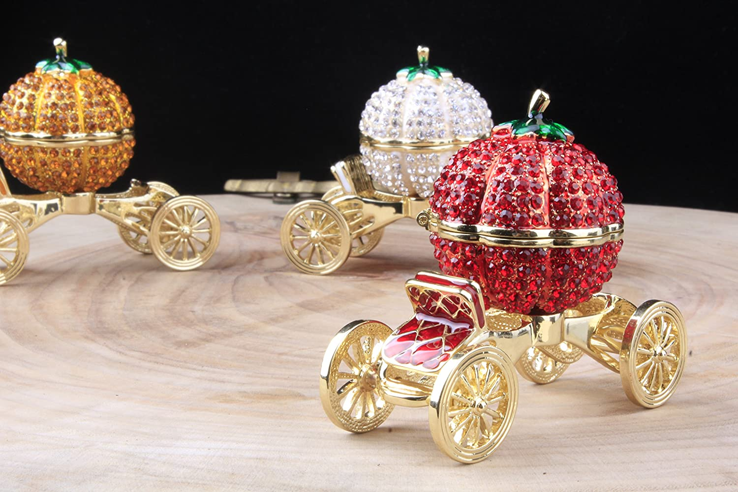 Amazon.com: Crystal Carriage Jewelry Box Home Decoration ...