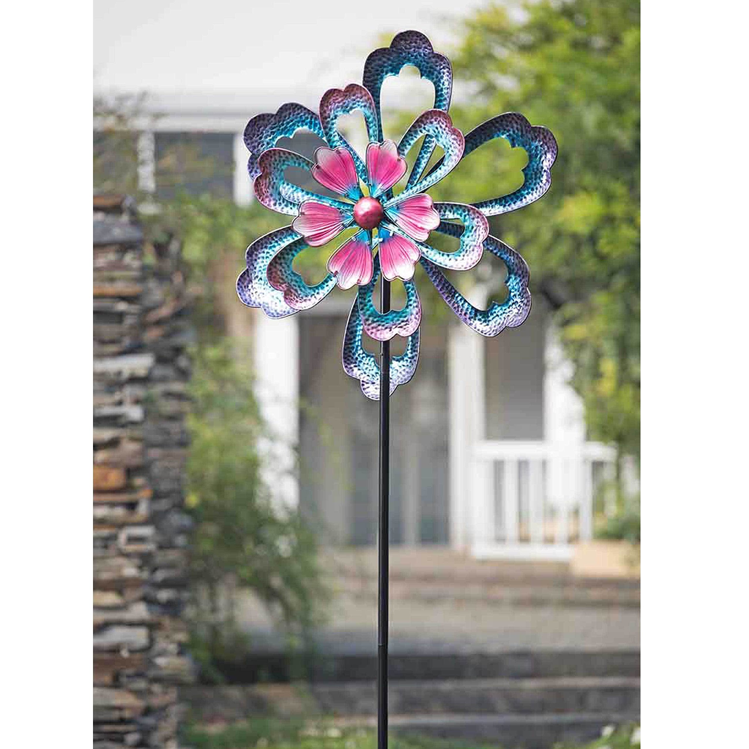 Metal Garden Flower Stakes Spinner Purple, 88 Inches - 110309008. 22.2 in. L x 9.1 in. W x 69.1 in. H by sunjoy