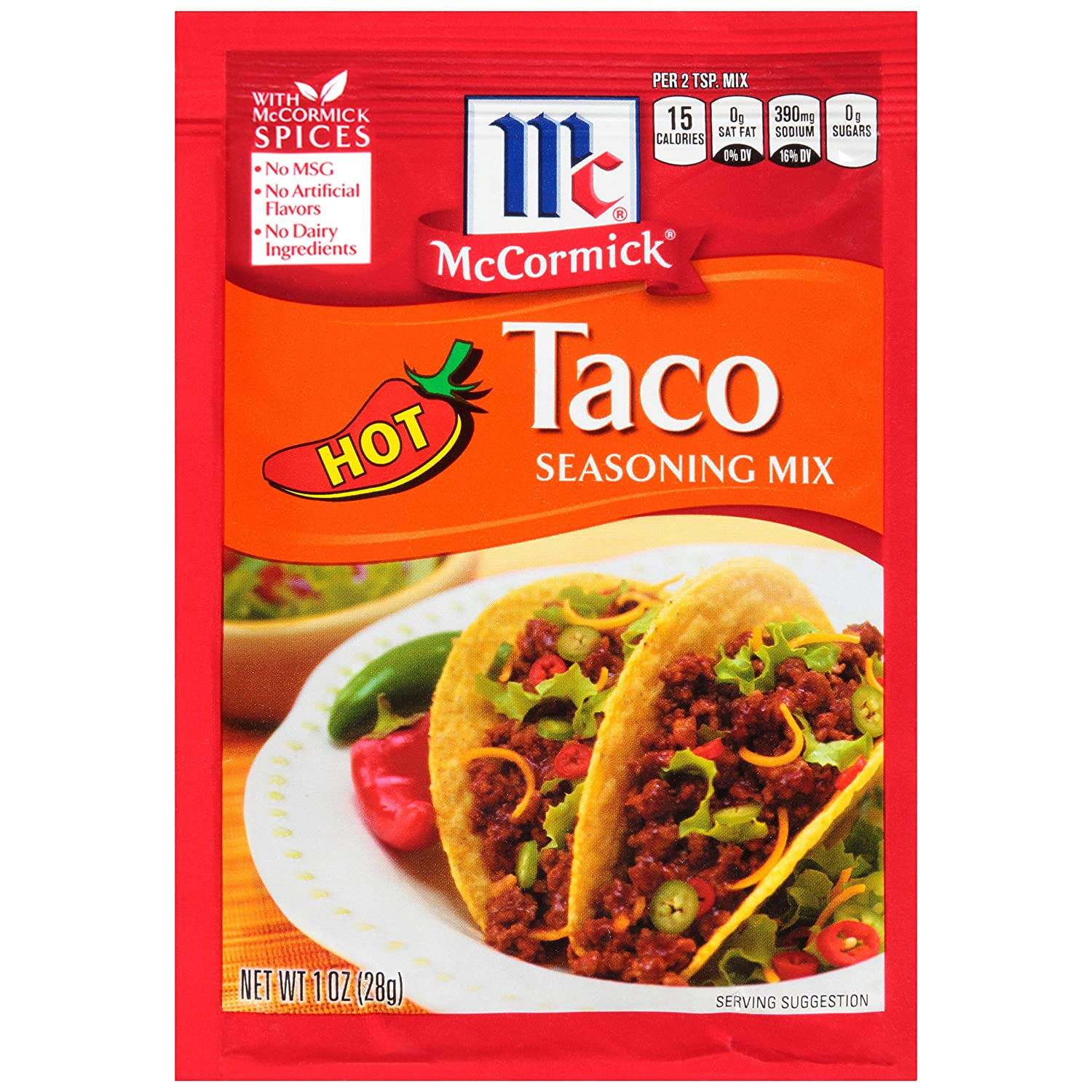 Amazon Com Mccormick Hot Taco Seasoning Mix 1 Oz Grocery Gourmet Food