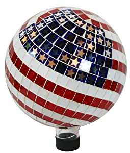 Alpine GRS688 Mosaic American Flag Gazing Ball, 10""