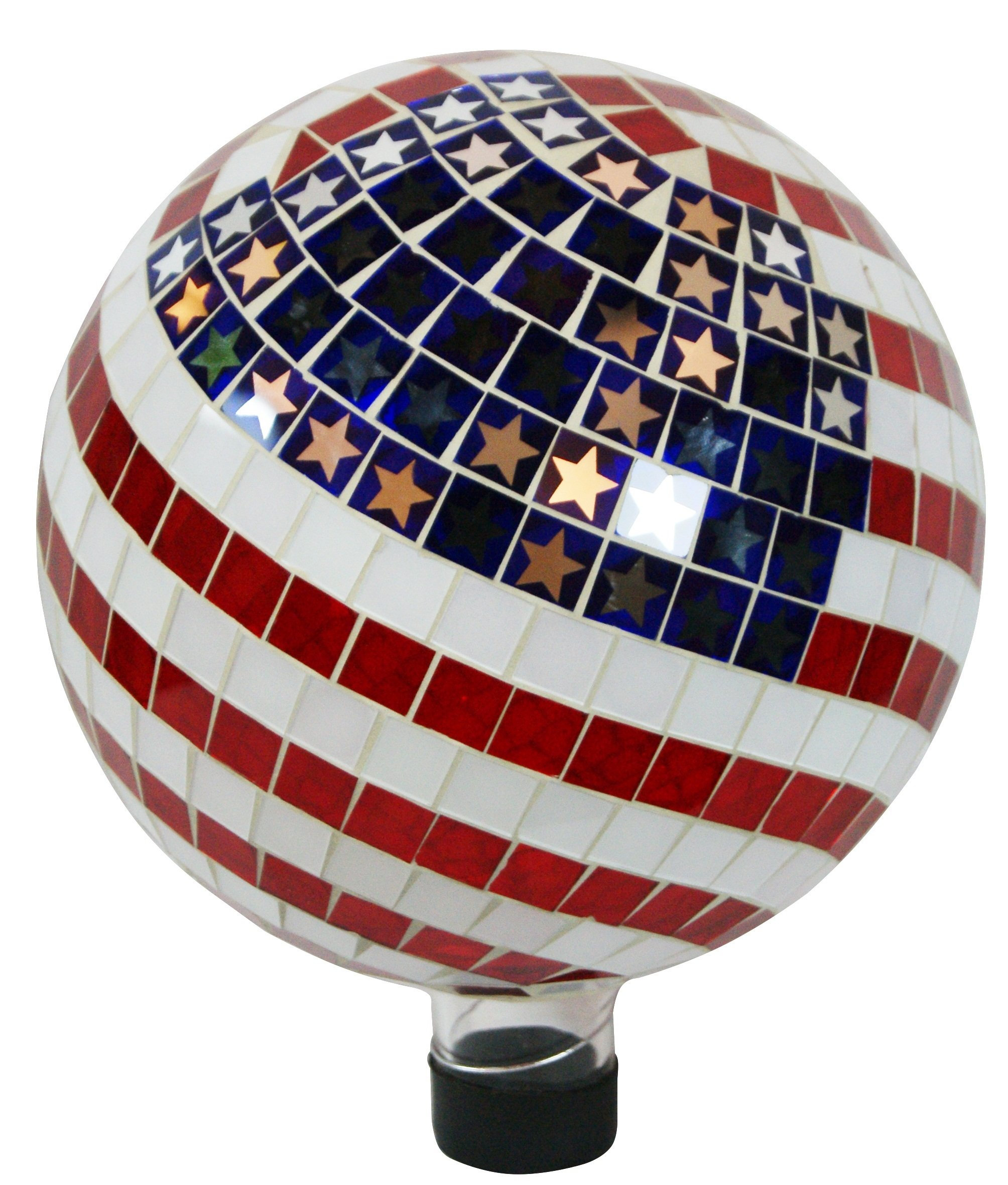 Alpine GRS688 Mosaic American Flag Gazing Ball, 10''