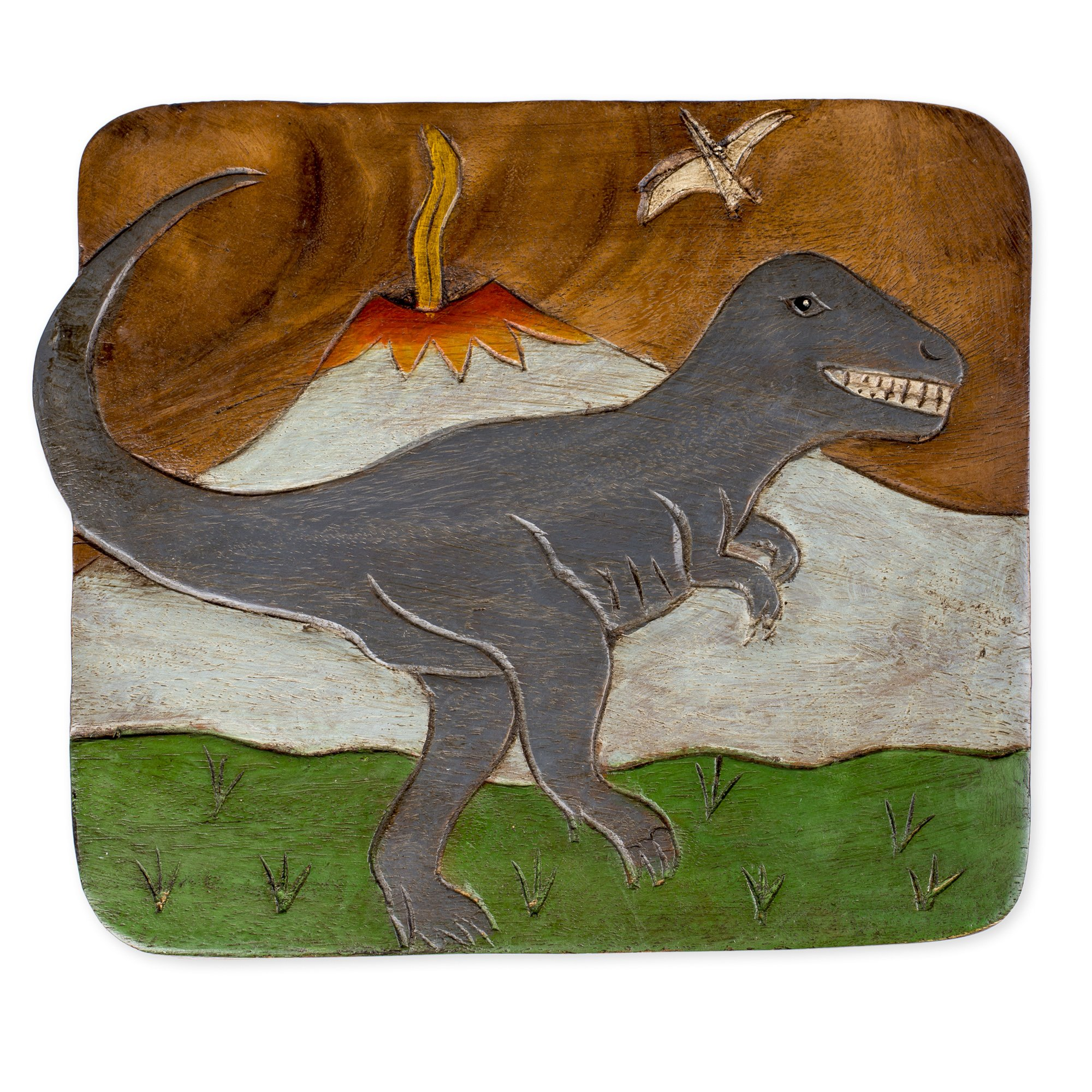 Tyrannosaurus Rex Dinosaur Design Hand Carved Acacia Hardwood Decorative Short Stool by Sea Island Imports (Image #2)