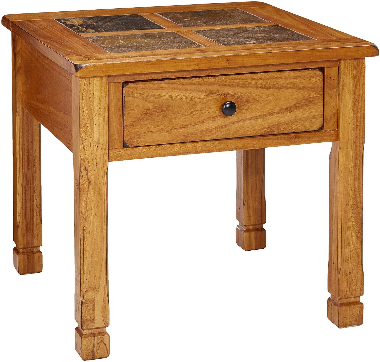 Progressive Furniture Rustic Ridge Lamp Table, Light Oak/Slate