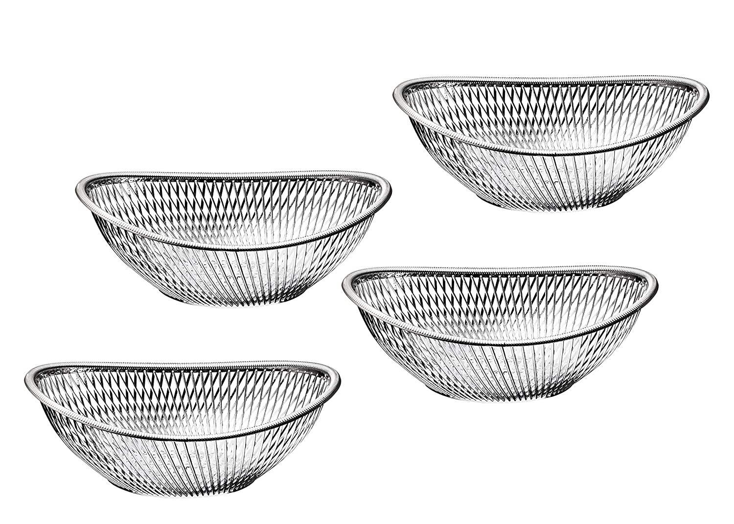 Impressive Creations Reusable Decorative Serving Basket – Plastic Fruit Basket – Bread Basket with Elegant Silver Finish – Functional and Modern Weaved Design – 4pk