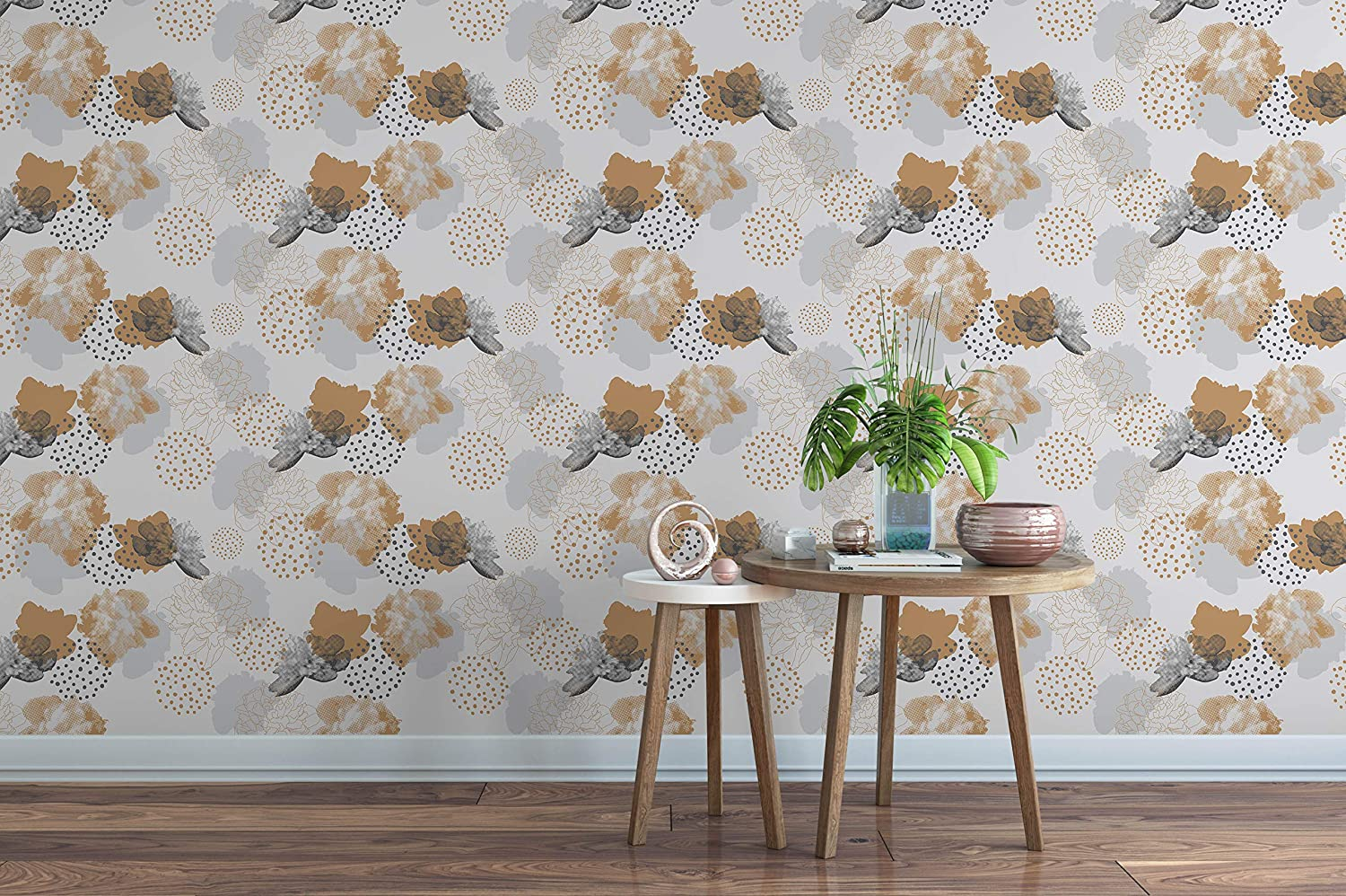 Amazon com floral self adhesive removable wallpaper with peonies flowers peel and stick wall paper temporary botanical wall decor for renters cc176
