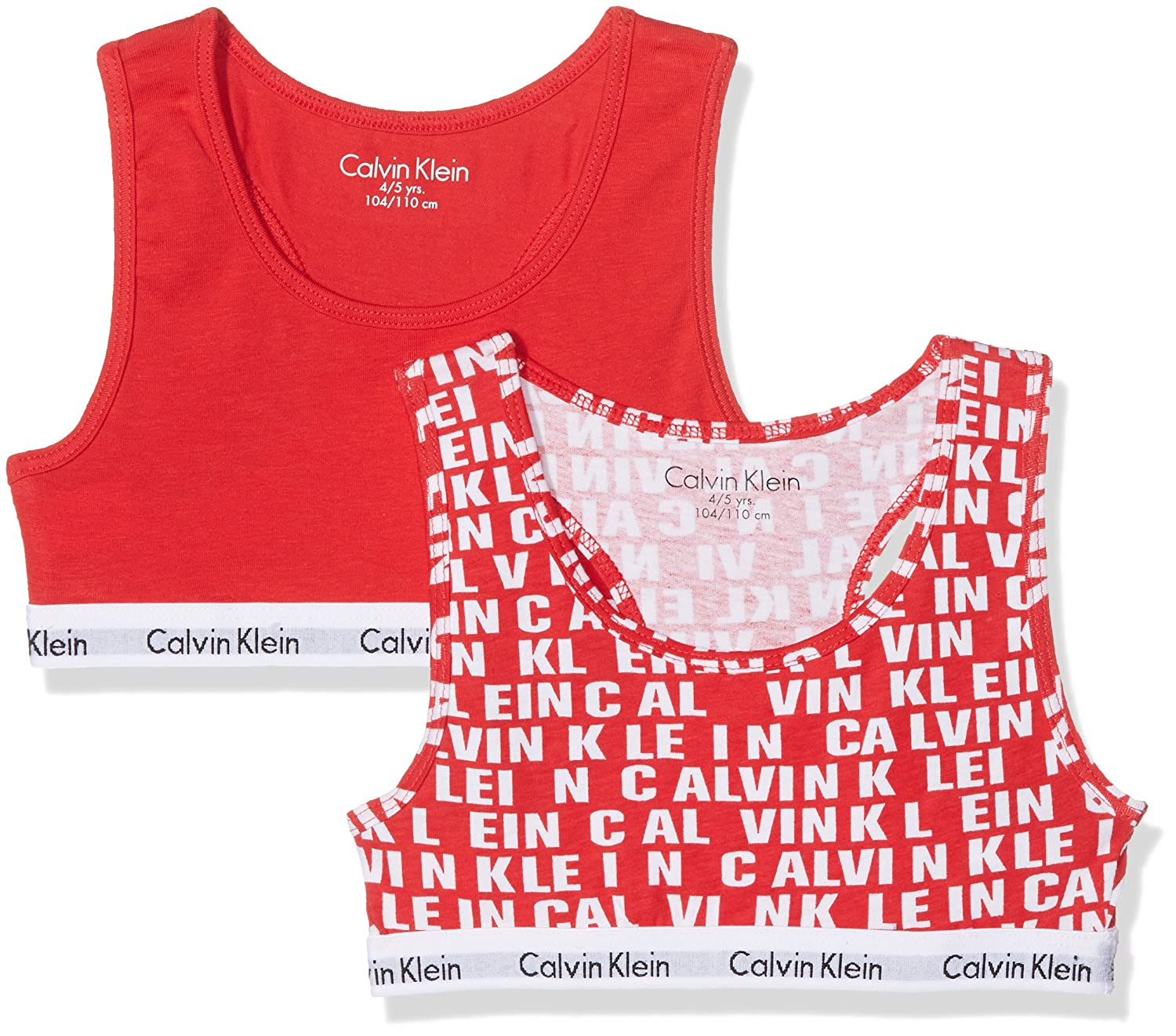 Calvin Klein Girls 2 Pack Modern Cotton Bralette, Princess Red All Over Logo/Solid Red