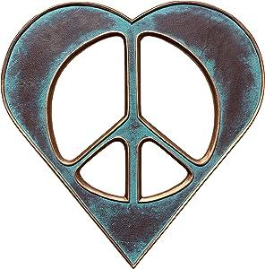 "Heart/Peace Sign Wall Decor Art - 12"" Rustic Hippie Love Plaque"