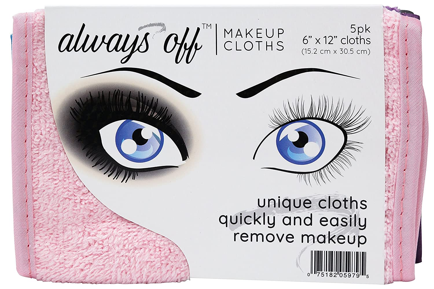 ST 597901 Always Off Makeup Remover Cloths 6 Inch x 12 Inch Assorted 5 Pack