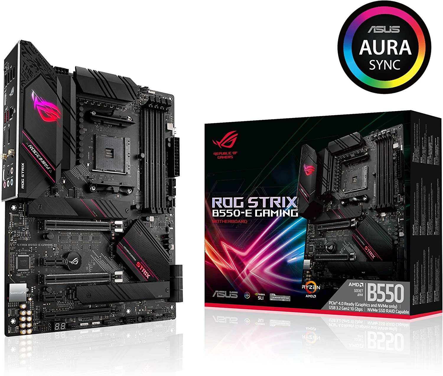 ASUS ROG Strix B550-E Gaming AMD AM4 (3rd Gen Ryzen ATX Gaming Motherboard (PCIe 4.0, NVIDIA SLI, WiFi 6, 2.5Gb LAN, 14+2 Power Stages, Front USB 3.2 Type-C, Addressable Gen 2 RGB and Aura Sync)