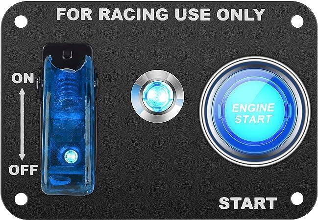 Dc12v 20a 50a Universal Auto Schalttafel Für Rennwagen Zündschalter Kippschalter Startknopf Mit Kontrollleuchte Blau Auto