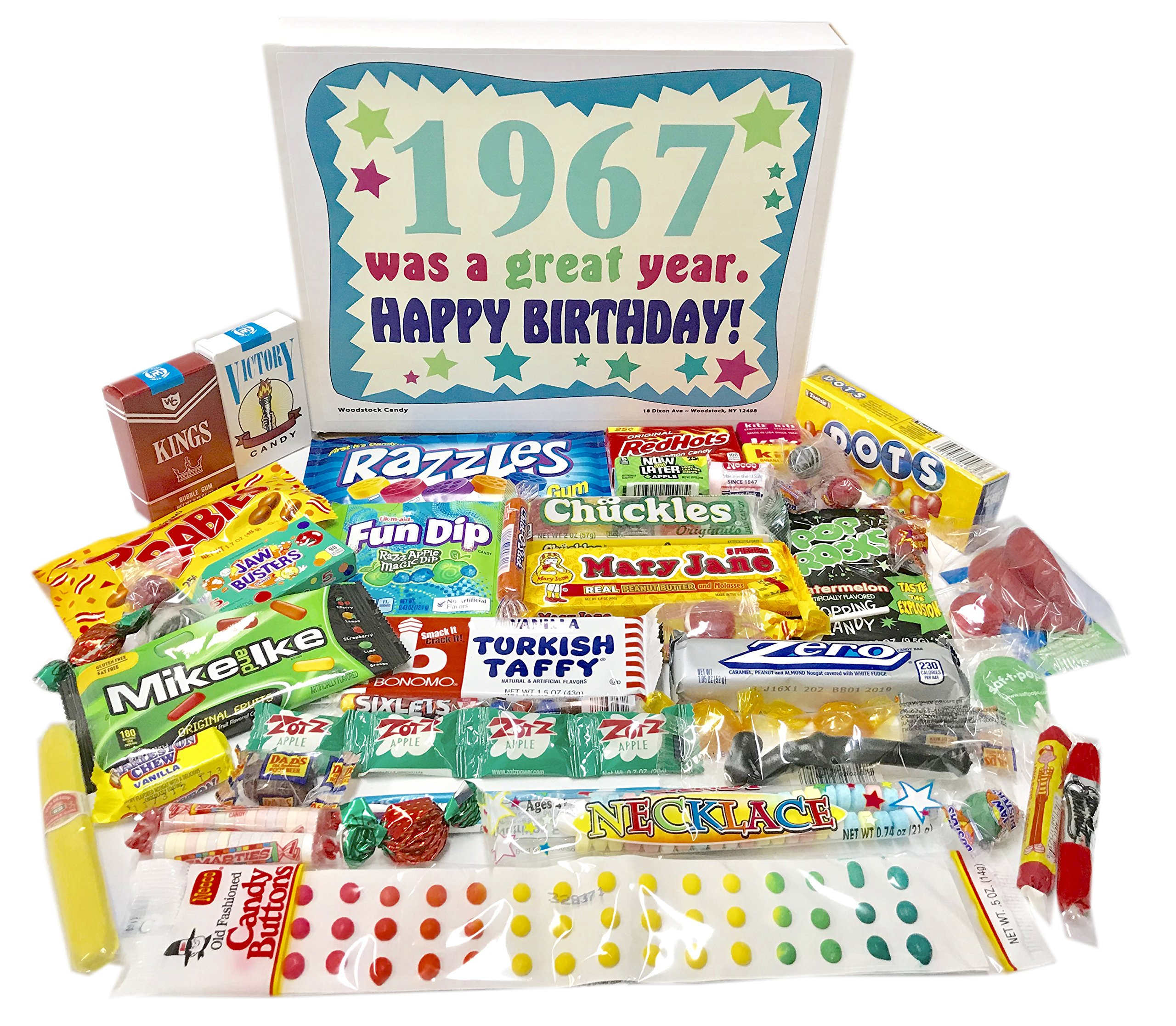 Woodstock Candy ~ 1967 52nd Birthday Gift Box Assortment of Nostalgic Retro Candy from Childhood for 52 Year Old Man or Woman Born 1967