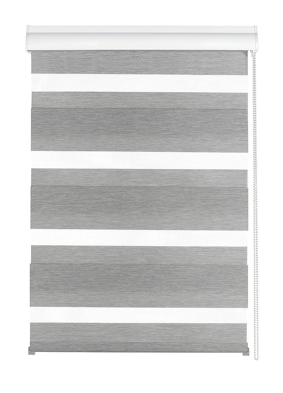 Gardinia 33341 Doppelrollo Silvalin silber, 100 x 220 cm mit weißer Aluminiumkassette