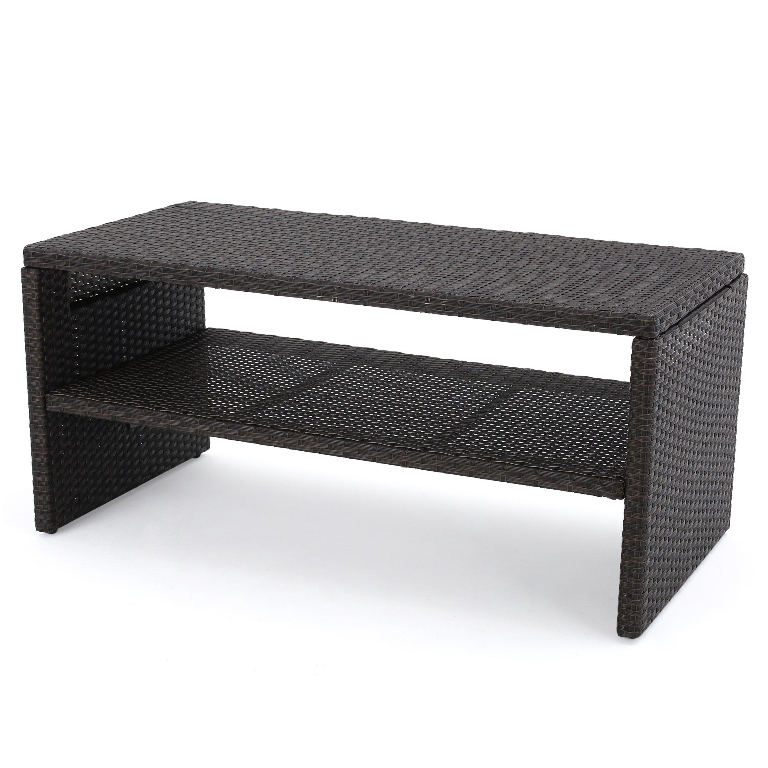 Great Deal Furniture Luzia Outdoor Wicker Coffee Table, Dark Brown Finish