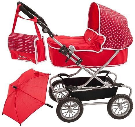 Silver Cross 1422977 - Carrito para bebé de juguete con accesorios, color rojo