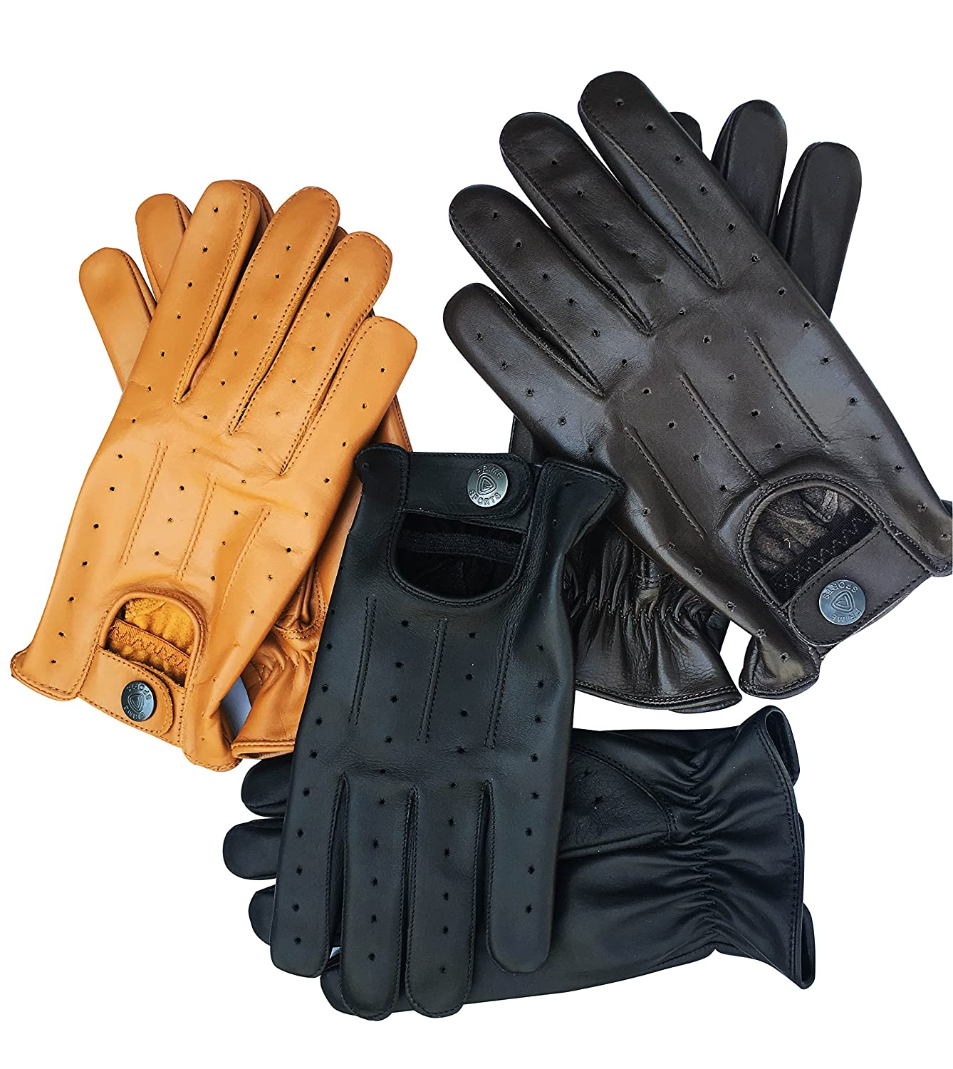 Prime Sports Men's Classic Genuine Soft Unlined Leather Driving Gloves D-7012 PRIME LEATHER