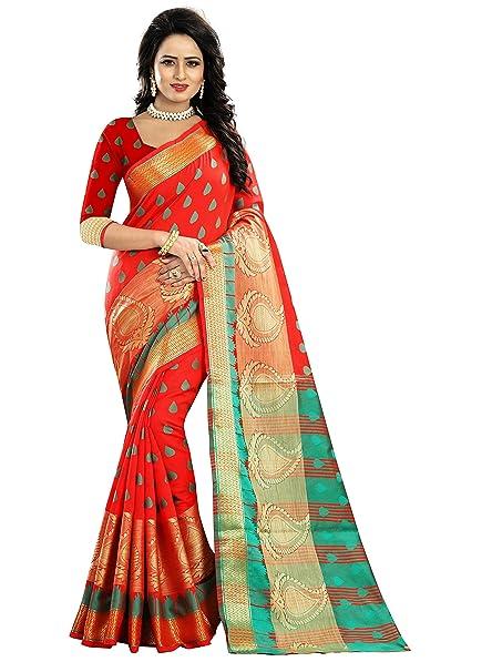 cfed6c6a3ae BikAw Zari Work Woven Red And Red Cotton Silk Kanjivaram Silk Style  Traditional Festive Wear Women s Saree Sari.  Amazon.in  Clothing    Accessories