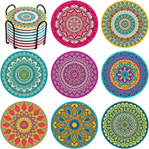 InnoGear Coasters for Drinks, Moisture Absorbing Stone Mats Heat-Resistant Reusable Coaster with Cork Base and Holder for Drinks, Gift Set for Birthday Housewarming, Apartment Kitchen Bar Décor
