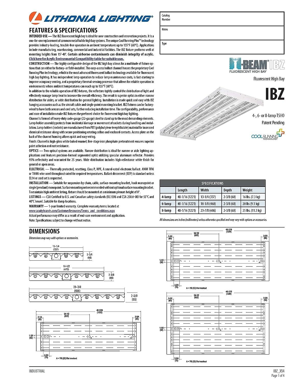 Lithonia Lighting IBZ 654L GEB10PS90 6-Light Gloss White T5 Fluorescent  Industrial High Bay - - Amazon.com
