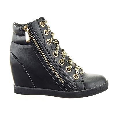Sopily - Chaussure Mode Baskets compensée Montante Cheville femmes Chaïnes  Fermeture Zip Talon compensé 9 CM 3a8d4b0a7050