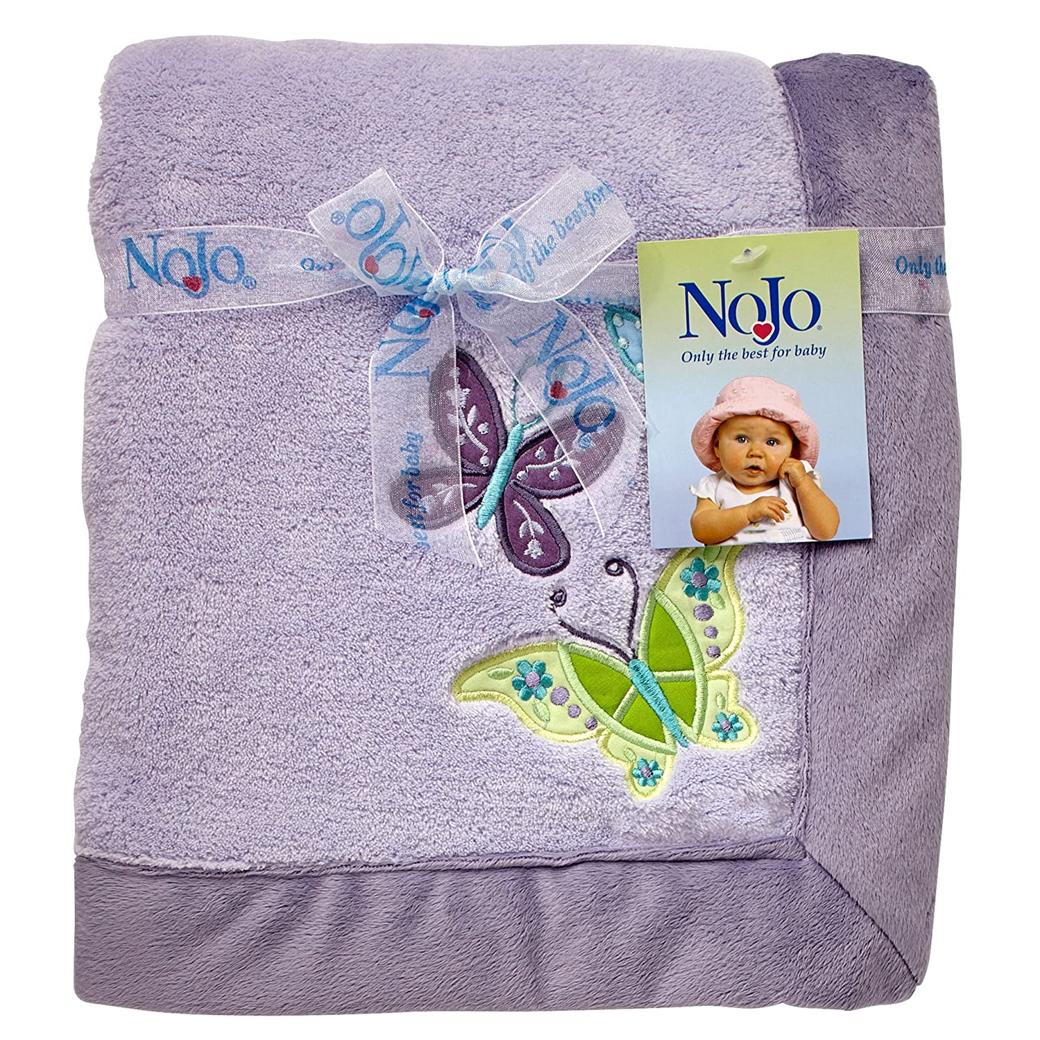 NoJo Beautiful Butterfly Super Soft Appliqued Baby Blanket, Lavender/Purple/Aqua Crown Crafts Inc 9640210