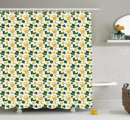 Blnoui Irish Shower Curtain By Happy St Patricks Day Concept Pattern With Traditional Holiday