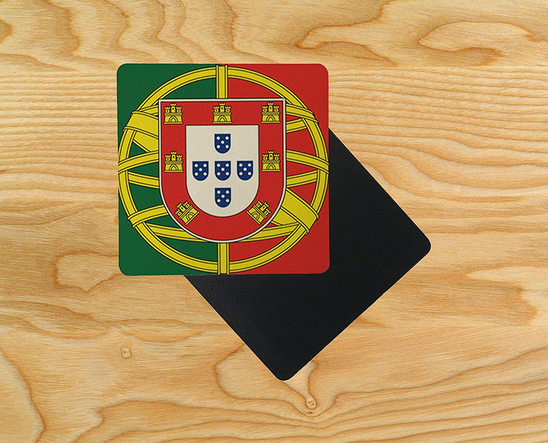 Pack of 2 Dessous de verre en bois Motif drapeau portugais du Portugal 95 x 95 mm Bois multicolore