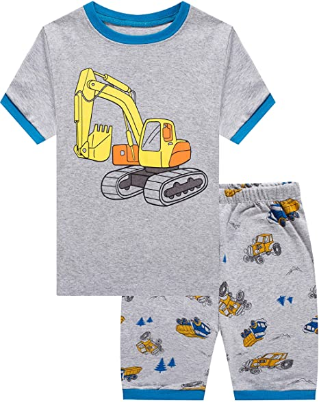 3ea1bac173 Boys Truck Pajamas Children Summer Pjs Cotton Sleepwear Set Toddler Kids  Clothes Size 5T