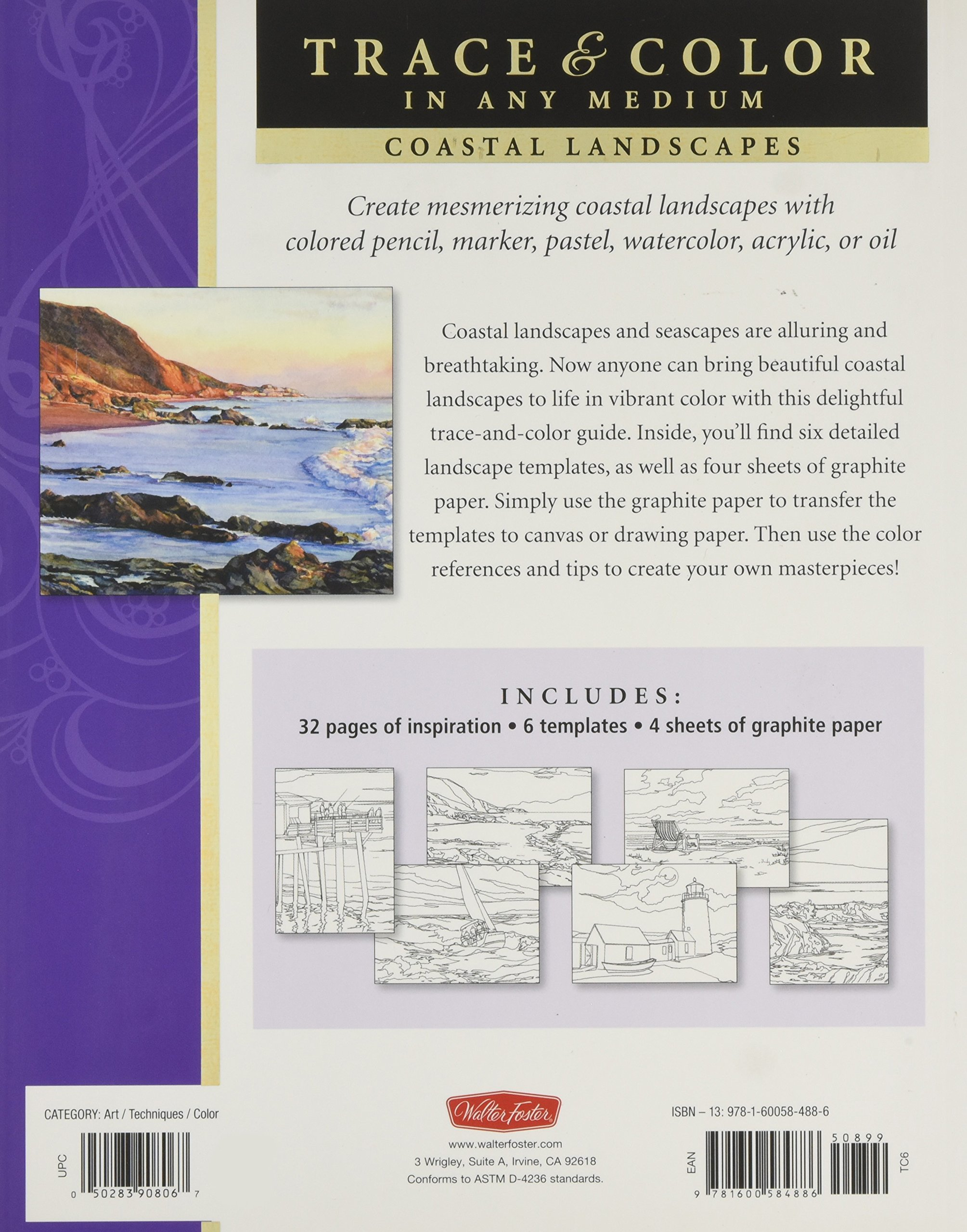 Coastal Landscapes Trace Line Art Onto Paper Or Canvas And Color Paint Your Own Masterpieces Thomas Needham 9781600584886