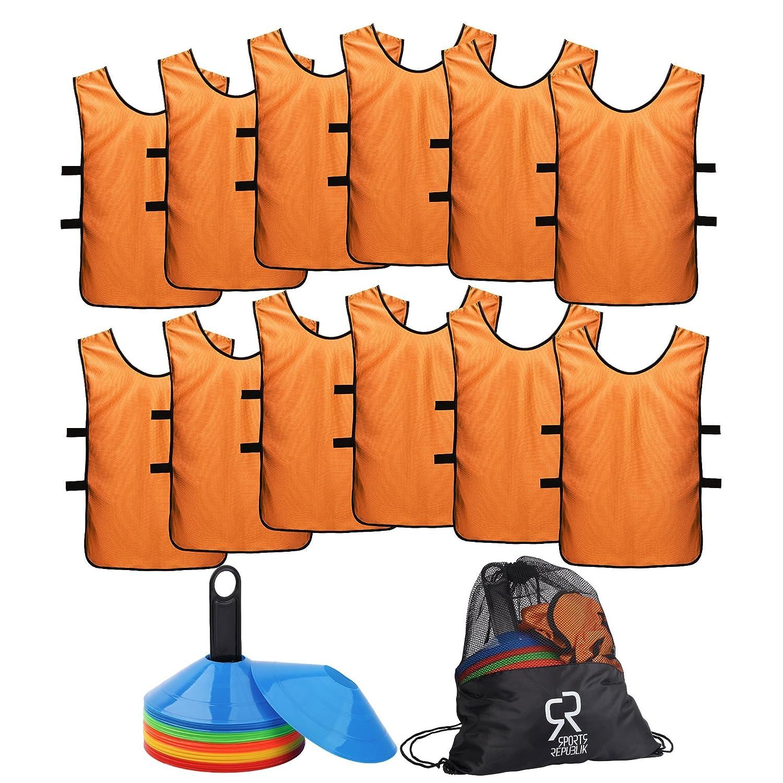 有名なブランド SportsRepublik S サッカーコーン(50本セット)とジャージ素材のスポーツビブス(12枚パック)。バスケットボールのドリル練習に最適なディスクコーン S。サッカートレーニング備品を補完するにもぴったりです。敏捷さを鍛えるサッカー練習用備品として SportsRepublik。 B075ZVCR61 オレンジ S (3-5歳) S (3-5歳)|オレンジ, 中蒲原郡:a2543c32 --- arianechie.dominiotemporario.com