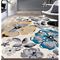 Modern Floral Circles Cream Area Rug - 7.6ft x 9.5ft