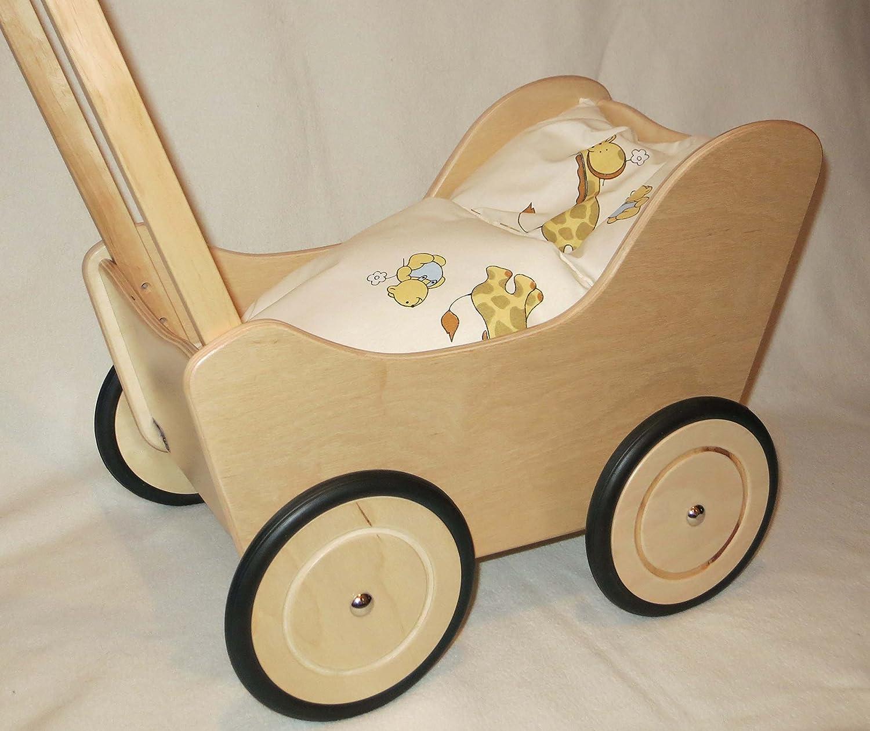 Lauflernwagen Puppenwagen Puppenwagen Puppenwagen natur aus Holz mit Bremse und Wäsche 1b02db